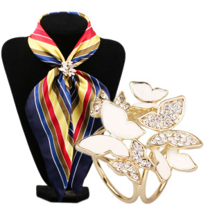 P-0221   Fashion Gold Plated Two Colors Charm Rhinestone Butterfly Scarf Buckle Brooch Women Accessories