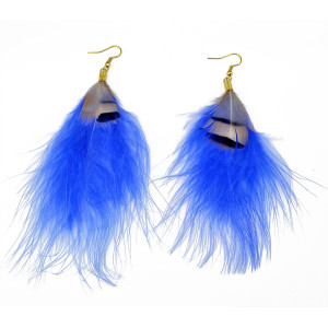 E-3653 New Arrival Bohemian Fashion Jewelry Gold Plated Long Feathers Statement Drop Earrings For Women