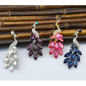 E-3651  Fashion retro silver plated rhinestone earrings crystal peacock theme fashion jewelry
