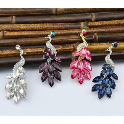 E-3651  Fashion retro silver plated rhinestone earrings crystal peacock theme fashion jewelry