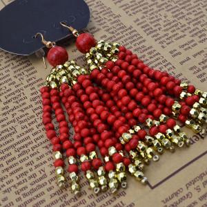 E-3649  Bohemian vintage gold colorful beads tassel women long earrings for women girls luxury brincos