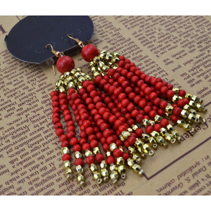 E-3649  Bohemian vintage gold colorful beads tassel women long earrings for women girls luxury brincos