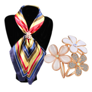 P-0218   Fashion Gold Plated Two Colors Charm Crystal Rhinestone Beautiful Flower Scarf Buckle Brooch Women Accessories