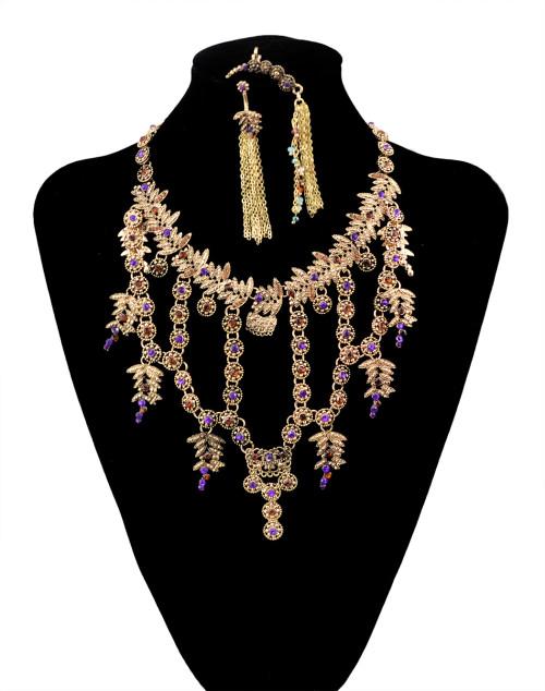 N-5960  latest fine design women jewelry  luxury statement jewelry sets vintage leaf flower purple rhinestone crystal charms clip earrings necklace set