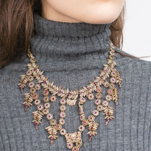 N-5960  latest fine design women jewelry  luxury statement jewelry sets vintage leaf flower purple rhinestone crystal charms clip earrings necklace set