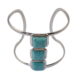 B-0647   Boho Vintage Antique Silver Plated Square Flower Turquoise Cuff Bangles Bracelets Jewelry For Women