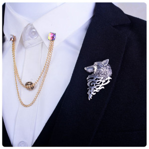 P-0217   New Fashion Retro Gold Silver Metal Wolf Brooch Pin Jewelry For Men