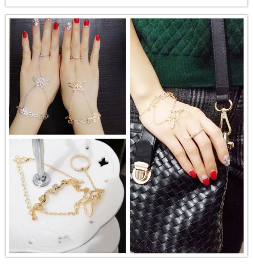 B-0646  Fashion Gold/Silver plated alloy chain rhinestone butterfly theme ring bracelet jewelry set