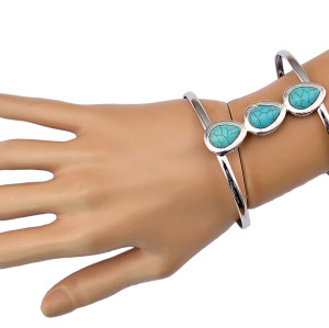B-0644 New Arrival Vintage Silver Plated 2 Styles Green Turquoise  Beads Cuff Bangles Bracelets For Women Jewelry