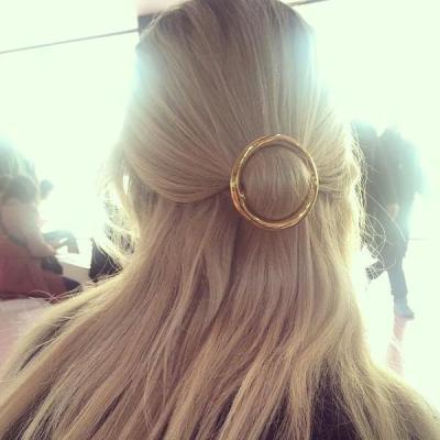 F-0294  Fashion Metal Barrette Hairpins Punk Gold Silver Plated Hair Accessories Hair Clip Metal Round Barrettes for Women&Girls