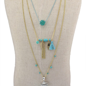 N-5817 Fashion Gold Plated Multilayer Turquoise Tassel Charm Long Necklace For Women