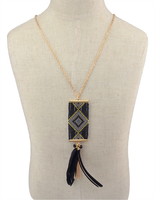 N-5971  New Fashion Gold Plated  Resin Beads Feather Tassel  Pendant Necklace For Women