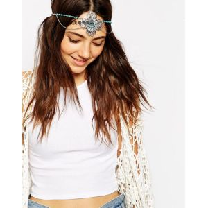 F-0293  Bohemian vintage style silver metal hollow out flower headpiece turquoise beads headband ethnic head chain headwear hair jewelry