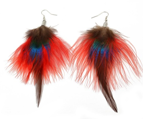 E-3661  2016 Fashion Ethnic Colorful Feather Earrings 6 Colors New Design Charm Cocktail Jewelry Dangle Earrings for Women