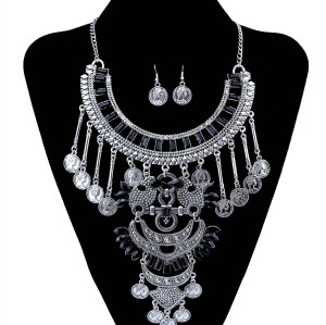 N-5974  Bohemian Coin Earrings Jewelry Sets for Women Antique Silver Maxi Long Tassel Moon Necklaces Pendants