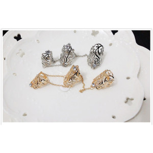 R-1303  Punk style gold silver metal rhinestone hollow out flower double ring chain knuckle ring for women