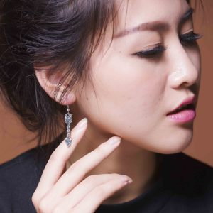 E-3656 Fashion Style Retro silver plated rhinestone metal arrows shape Dangle Earrings