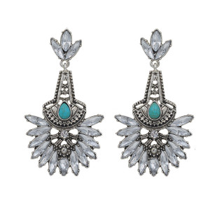 E-3659  Europe and America 2016 New Beautiful Fashion Clear Crystal Earrings Elegant Turquoise Dangle Earrings For Women