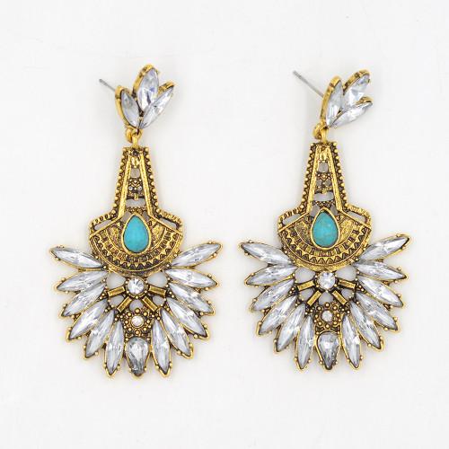 E-3659  Europe and America 2016 New Beautiful Fashion Clear Crystal Earrings Elegant Turquoise Dangle Earrings For Women