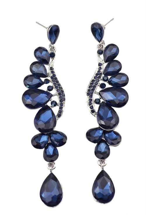 E-3665 Fashion Style Silver plated drop rhinestone leaf shape Dangle Earrings