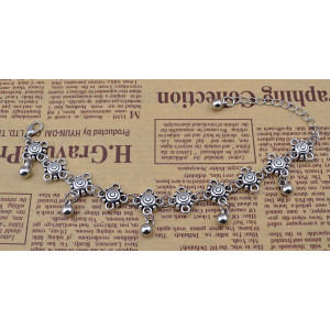 B-0657   Bohemian style silver metal carved vintage flower bell ball tassel bracelet boho jewelry