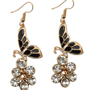 E-3662  New fashion style gold plated drop rhinestone  butterfly shape dangle earrings