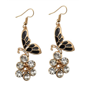 E-3662  New fashion style gold plated drop rhinestone  butterfly shape dangle earrings