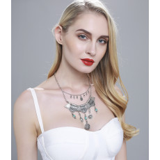 N-5979 Bohemian vintage silver/gold triangle geometric bib choker necklace turquoise coin tassel long necklaces female jewelry