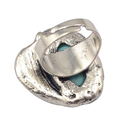 R-1305  New Design Bohemian Style Silver Plated Natural Turquoise Finger Ring for Women Jewelry Adjustable