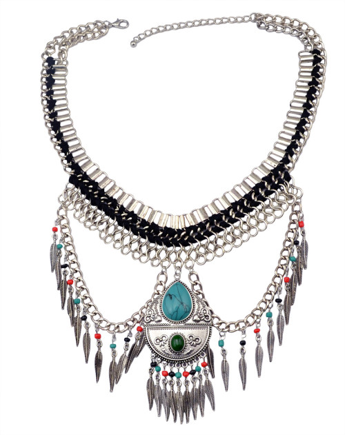 N-5984   Bohemian retro silver plated multilayer dangle chain leaf tassel turquoise pendant necklace jewelry