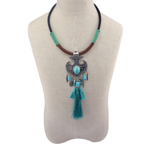 N-5982 Fashion Women Jewelry Bohemian Vintage Silver  Turquoise Beaded Long Tassel  Choker Necklaces