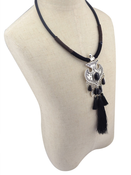 N-5982 Fashion Women Jewelry Bohemian Vintage Silver  Turquoise Beaded Long Tassel  Choker Necklaces