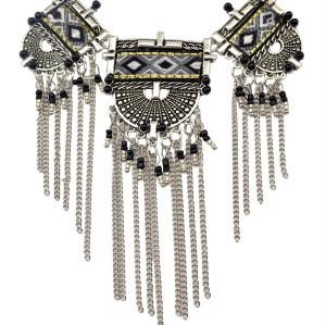 N-5983  Ethnic bohemian vintage silver moon geometric bib choker necklaces long beads tassel chains necklace turkish female jewelry
