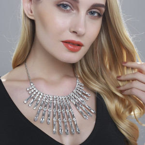 N-5989 Fashion Korean Style Silver Chain Charm Rhinestone Bib Statement Necklace And Earrings Set Women Jewelry