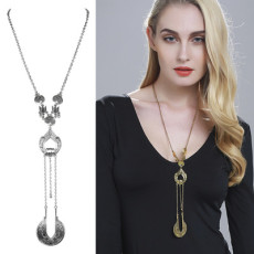N-5988 Bohemian style silver gold plated vintage flower bell ball round pendant long chain necklace
