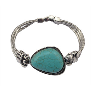 B-0656  Women's Vintage Retro Tibetan Silver Geometric Turquoise Stone Bracelets& Bangles Jewelry For Women