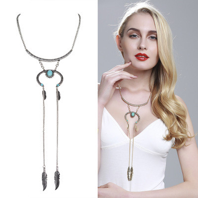 N-5990 New  Fashion Vintage Silver/Gold Plated  Natural Turquoise Tassel  Pendant Leaf Shape Necklace for Women