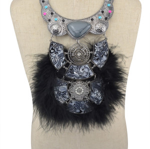 N-5991 Fashion Ethnic Women Noble Crystal Feather Necklaces & Pendants High Quality Soft Glam Feather Chains Necklace