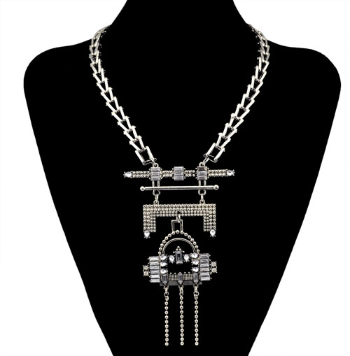 N-5993 Fashion high quality silver gold plated charm crystal rhinestone multi layer tassel beads pendant necklaces for women jewelry