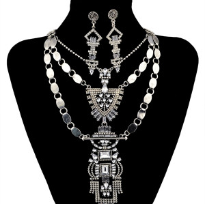 N-5995  European fashion silver clear crystal rhinestones geometric maxi necklaces earrings sets for women jewelry