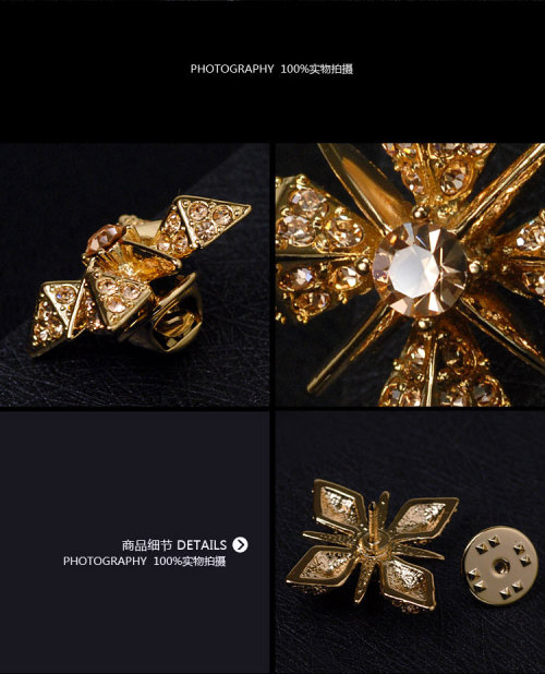 P-0228 2colors Fashion High Quality alloy plated Unique Charm Rhinestones Flower Shape Brooch Accessories