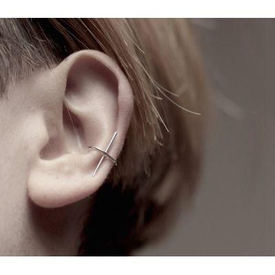 E-3674  1Pcs Punk fashion gold silver metal cuff earrings clip on earrings for women jewelry