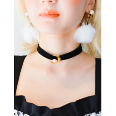 N-5996 Unique European Fashion Sexy Leather Chokers Necklace Moon Shape Pearl Pendant Necklace for Women Jewelry