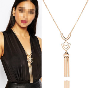 N-5998  European style gold plated alloy triangle geometry pendant long chain necklace