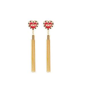 E-3667  Bohemian style fashion drop earrings gold plated resin beads heart shape tassel long earrings for women girls luxury brincos
