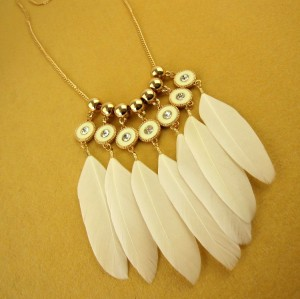 N-6003  Bohemian fashion gold plated beads feather tassel pendants necklace long sweater necklaces for women