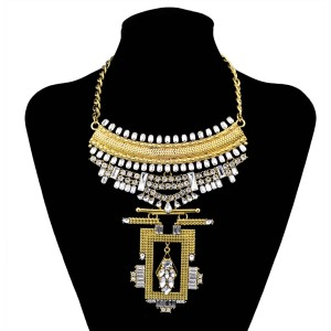 N-6009  Bohemia Style Vintage Silver/Gold Plated Geometry Shape Charm Crystal Bib Statement Necklace For Women Jewelry