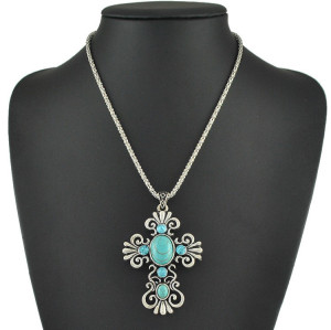 N-6004 Bohemian style silver plated chain cross shope rhinestone turquoise pendant necklace