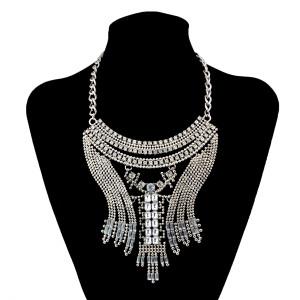 N-6008  European style luxury brand full rhinestone crystal flower vintage statement necklace vintage maxi colar fashion women jewelry