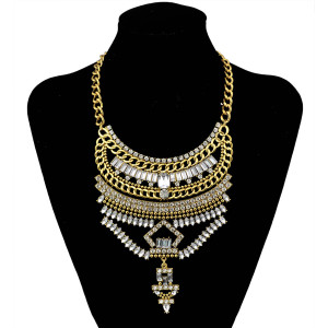 N-6019  Bohemia Vintage Silver/Gold Plated Big Geometry Shape Charm Crystal Choker Statement Necklace For Women Jewelry